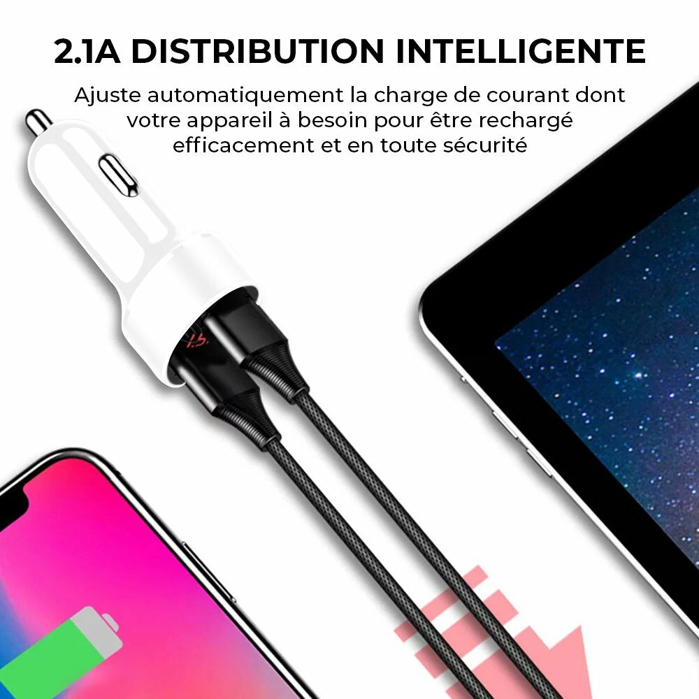 Chargeur Allume-cigare double USB Affichage LED Blanc